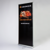 This roller banner requires much less space than two standard roller banners (Ill. is similar)